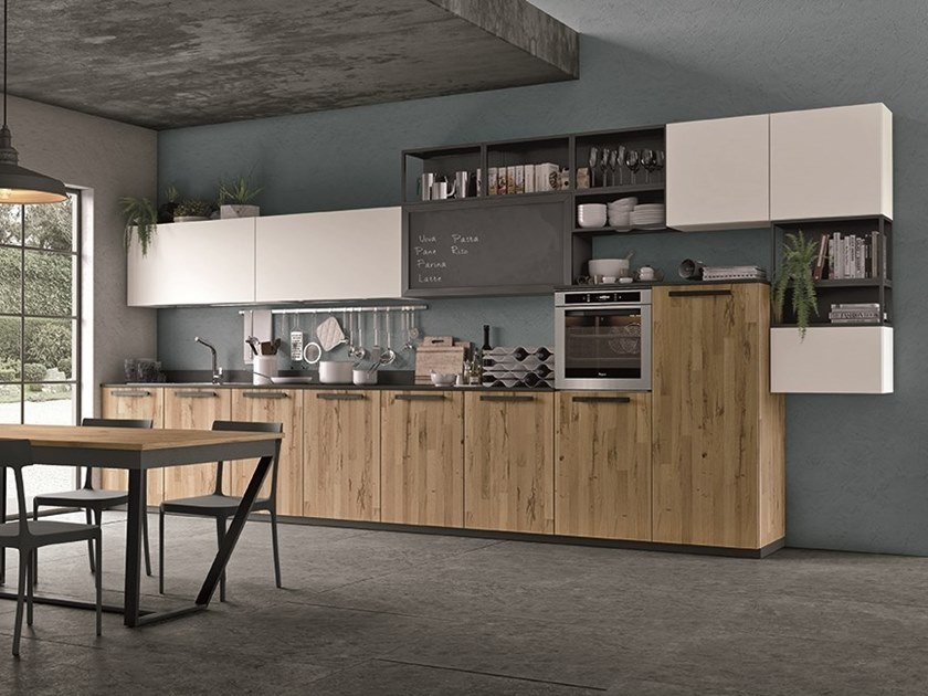 Cucina Lube Oltre.Wooden Kitchen With Cement Finish Doors Oltre By Cucine