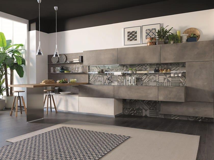 Cucina con ante finitura cemento OLTRE - Cucine Lube