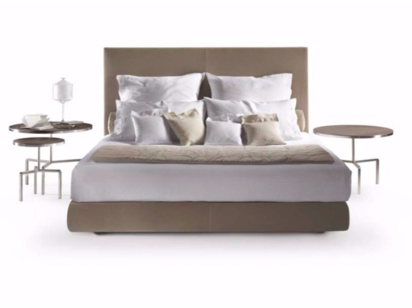 Double bed with upholstered headboard OLTRE by FLEXFORM
