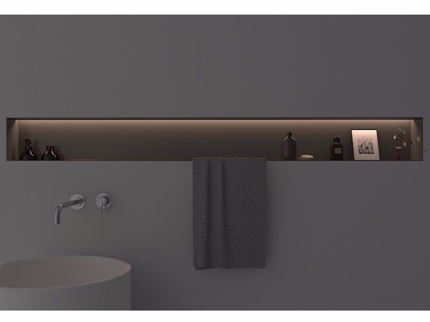 Aluminium bathroom wall shelf OMBRA by Antonio Lupi Design
