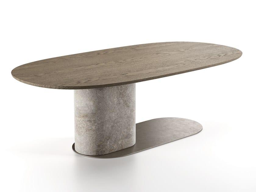Tavolo ovale in legno OMBRA by Natuzzi