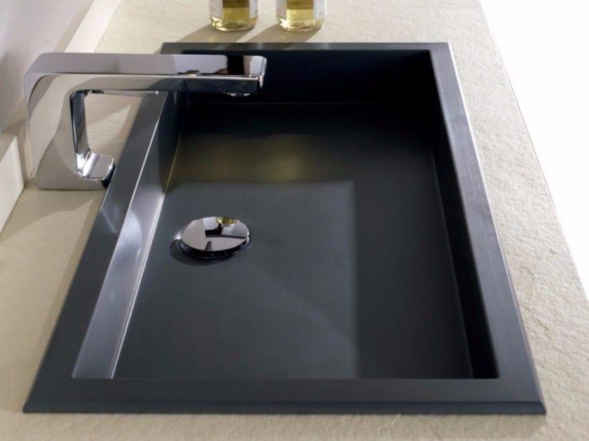 Inset rectangular single Silexpol® washbasin OMEGA by Fiora