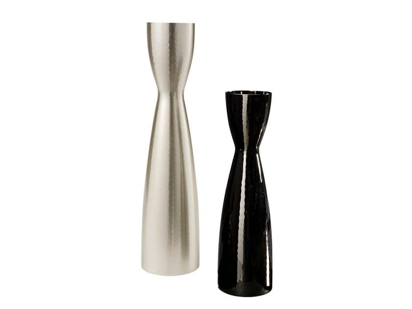 Silver and titanium vase OMINO by ZANETTO