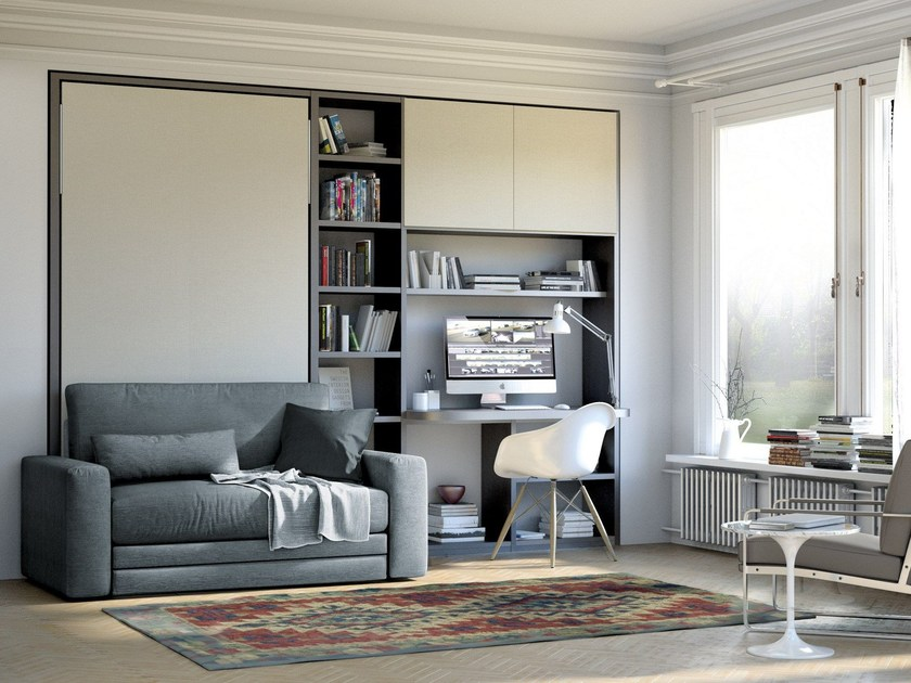 Lacquered storage wall with fold-away bed ON-OFF 214 by TUMIDEI