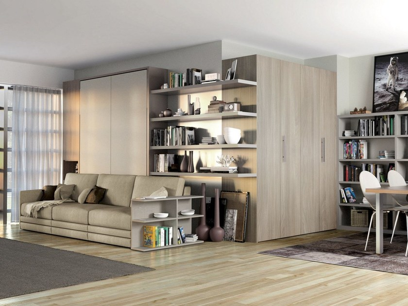 Storage wall with fold-away bed ON-OFF 207 by TUMIDEI