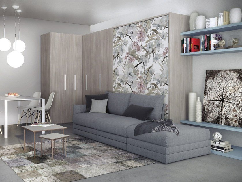 Contemporary style wall-mounted storage wall with fold-away bed ON-OFF 208 by TUMIDEI