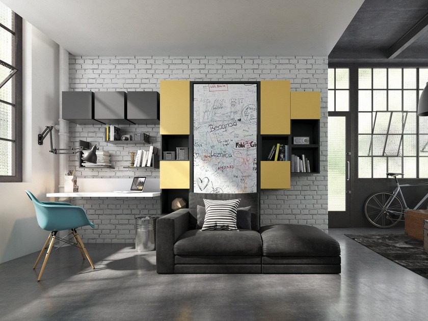 Lacquered storage wall with fold-away bed ON-OFF 213 by TUMIDEI