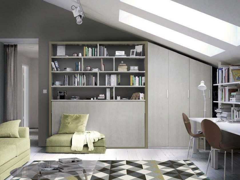 Storage wall with fold-away bed ON-OFF 215 by TUMIDEI