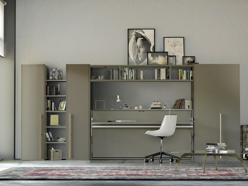 Lacquered storage wall with fold-away bed ON-OFF 216 by TUMIDEI