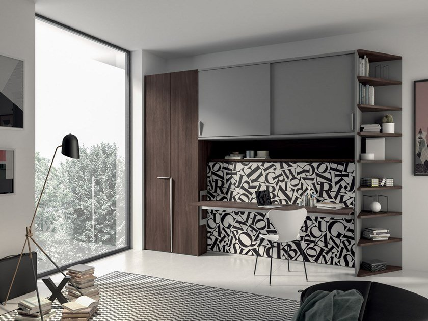 Pull-down single bed with cabinet ON-OFF CONFIGURATION 265 by TUMIDEI