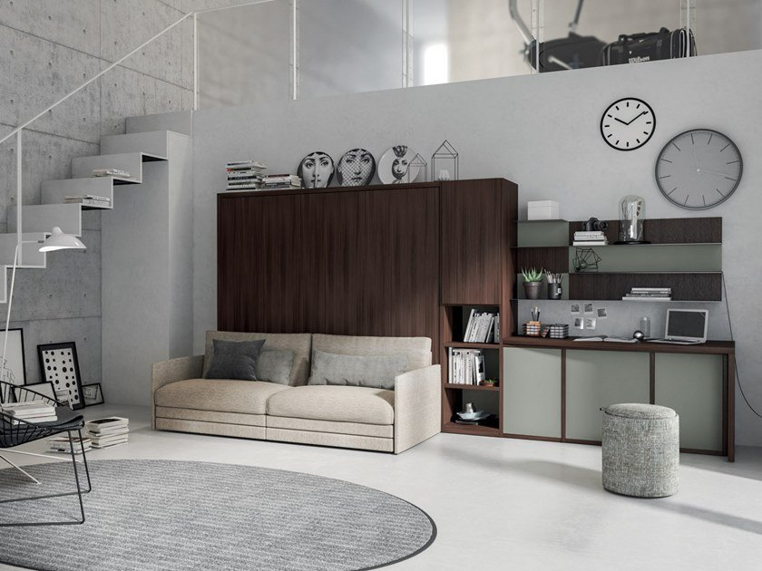 Storage wall with fold-away bed ON-OFF CONFIGURATION 266 by TUMIDEI