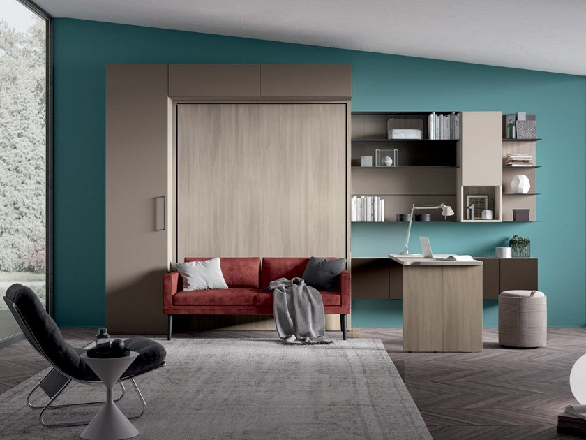 Storage wall with fold-away bed ON-OFF CONFIGURATION 277 by TUMIDEI