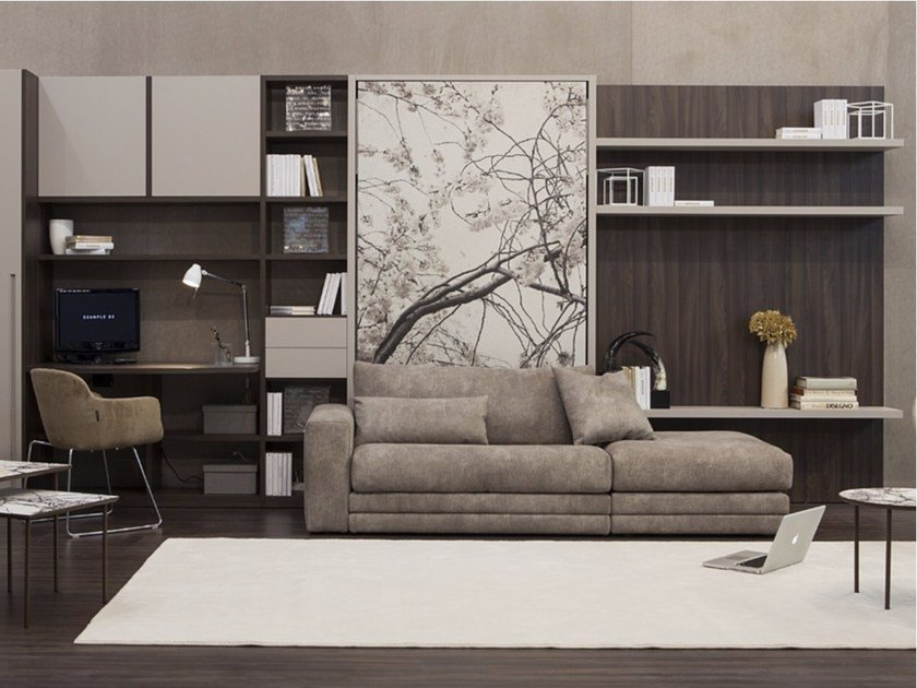 Storage wall with fold-away bed ON-OFF 212 by TUMIDEI