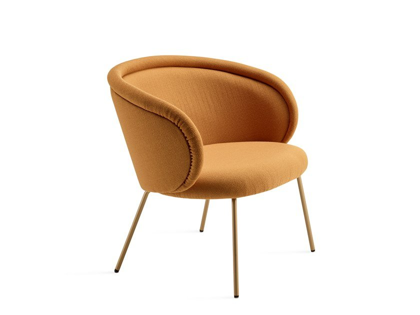 Upholstered fabric easy chair with armrests ONA COCKTAIL CHAIR by Freifrau