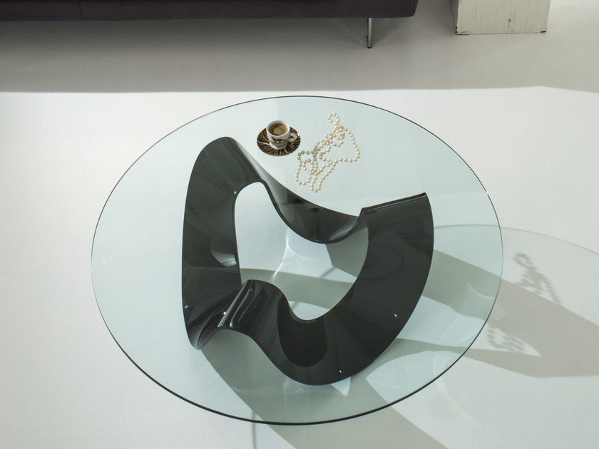 Round glass coffee table ONDA by IDEAS Group