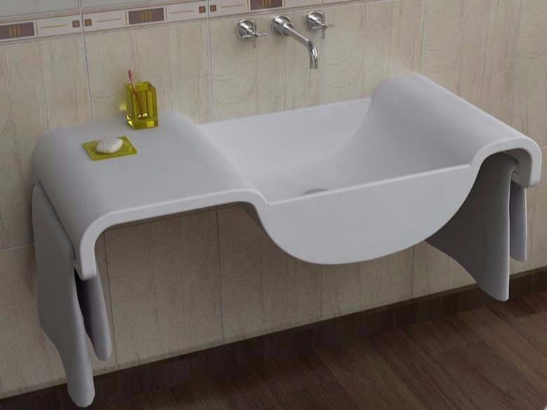 Lavabo sospeso in Adamantx® con porta asciugamani ONDA by ZAD ITALY