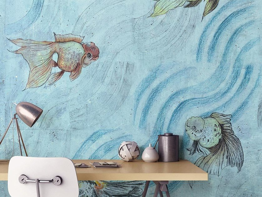 Natural wallpaper, PVC free, eco, washable ONDE DI PESCI by Wallpepper Group