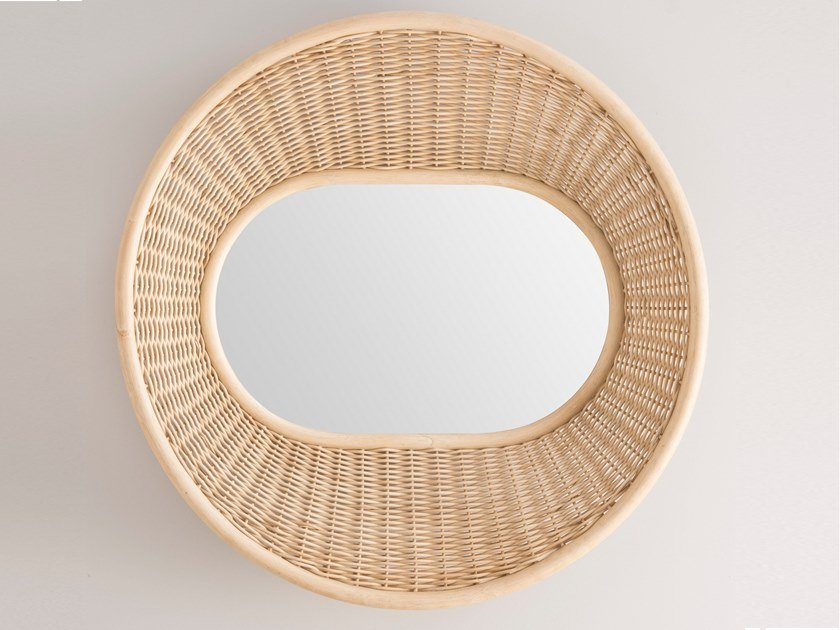 Round wall-mounted rattan mirror ONDE by Orchid Edition