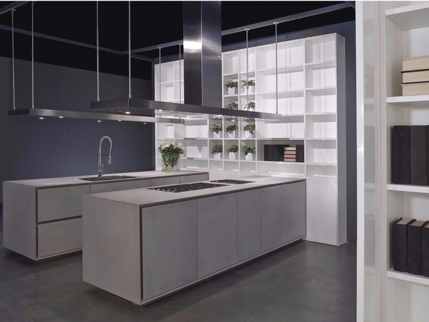 Cucina con doppia isola in cemento grigio ONE | Cucina by RIFRA