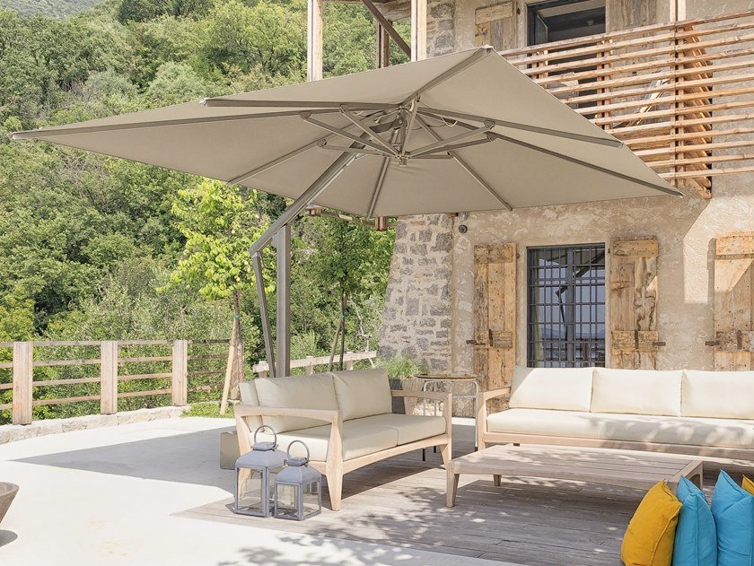 Adjustable offset aluminium Garden umbrella ONE by Ombrellificio Poggesi
