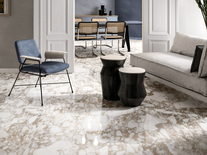 Indoor porcelain stoneware wall/floor tiles with marble effect ONIRIC WHITE by CERAMICHE KEOPE