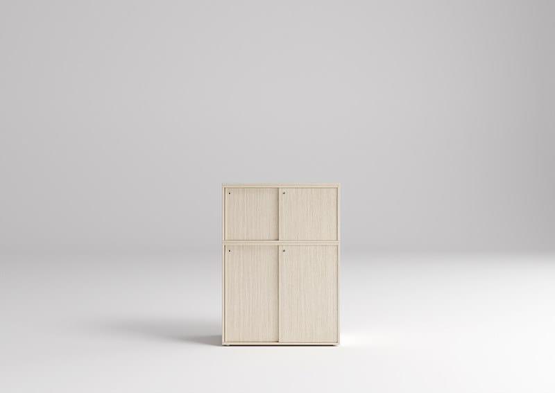 ONLINE3 Postazione di lavoro - Particolare contenitore ante scorrevoli con sopralzo