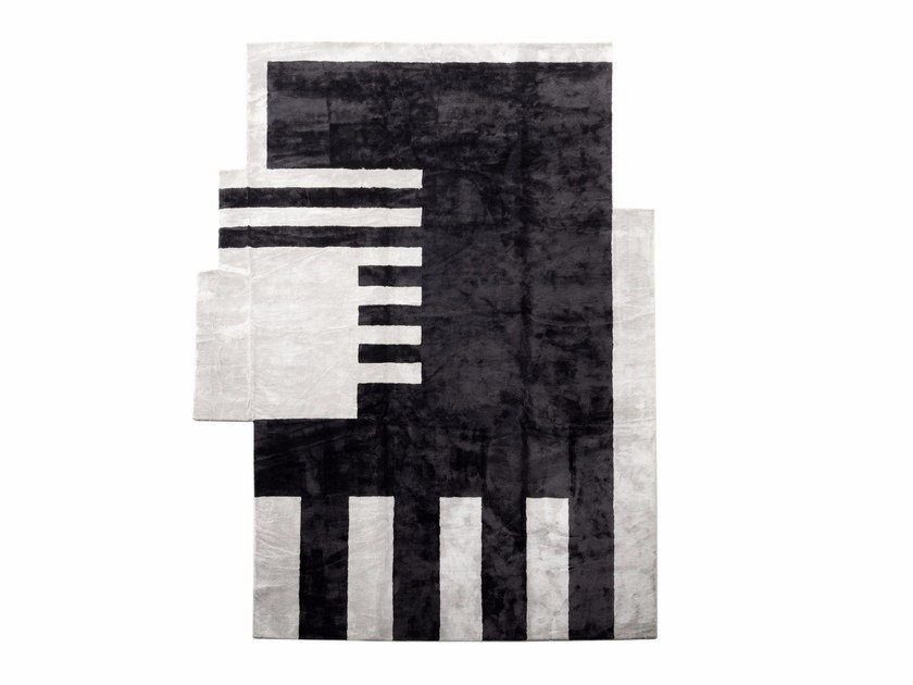 Rectangular silk rug OP-ART by ERBA ITALIA
