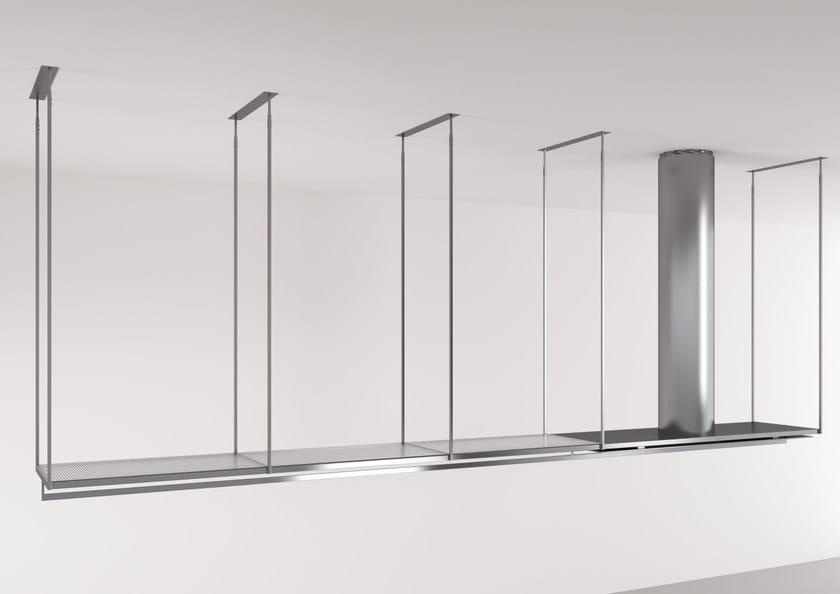 Cappa ad isola in acciaio inox e vetro con illuminazione integrata