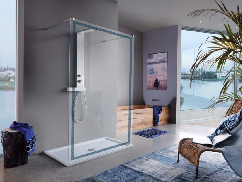 Shower wall panel with tray OPEN SCREEN by Samo