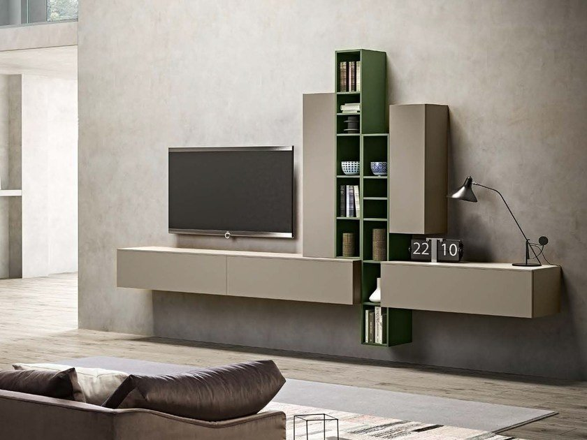 Wall-mounted lacquered storage wall OPEN   Storage wall by JESSE