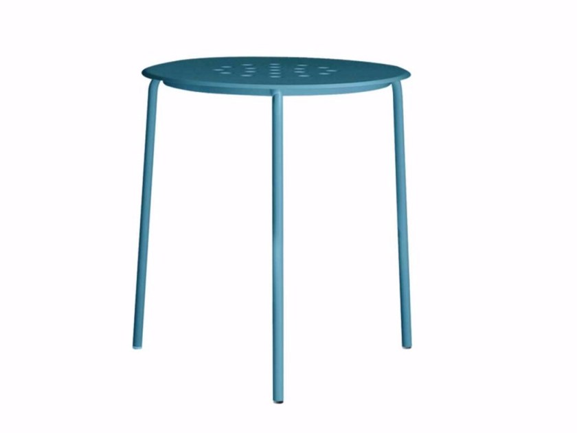 Stackable round stainless steel garden table OPEN TABLE 65 - 085_O by Alias