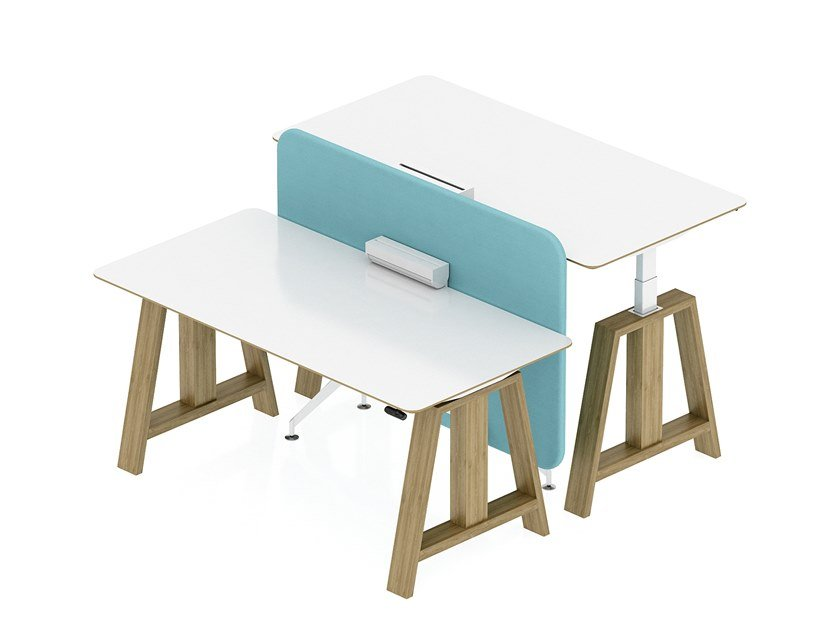 Height-adjustable workstation desk OPEN UP by Tuna Ofis