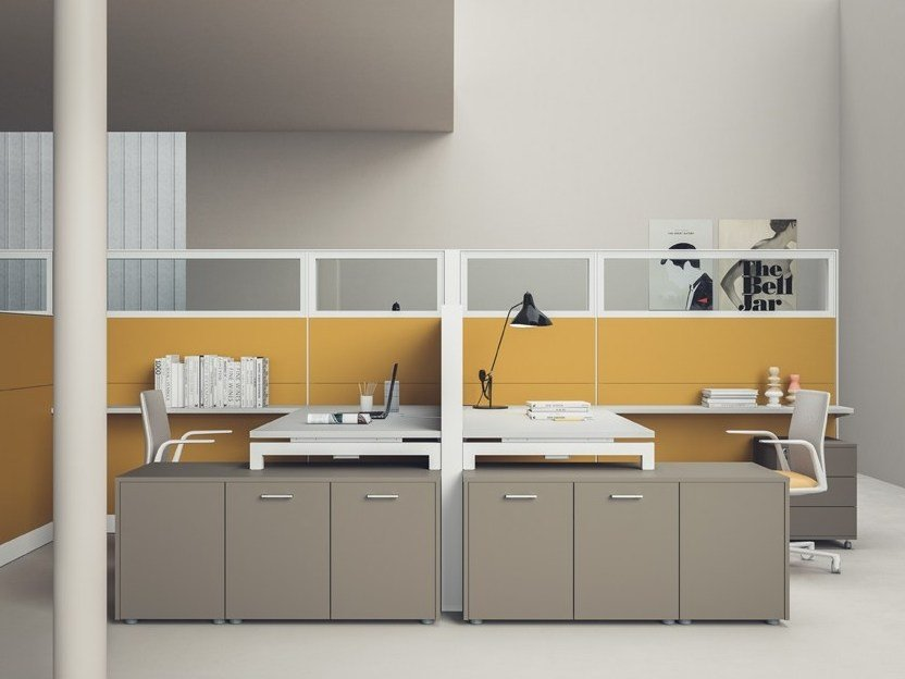 Free standing modular wooden workstation screen OPENWALL   Workstation screen by PROF