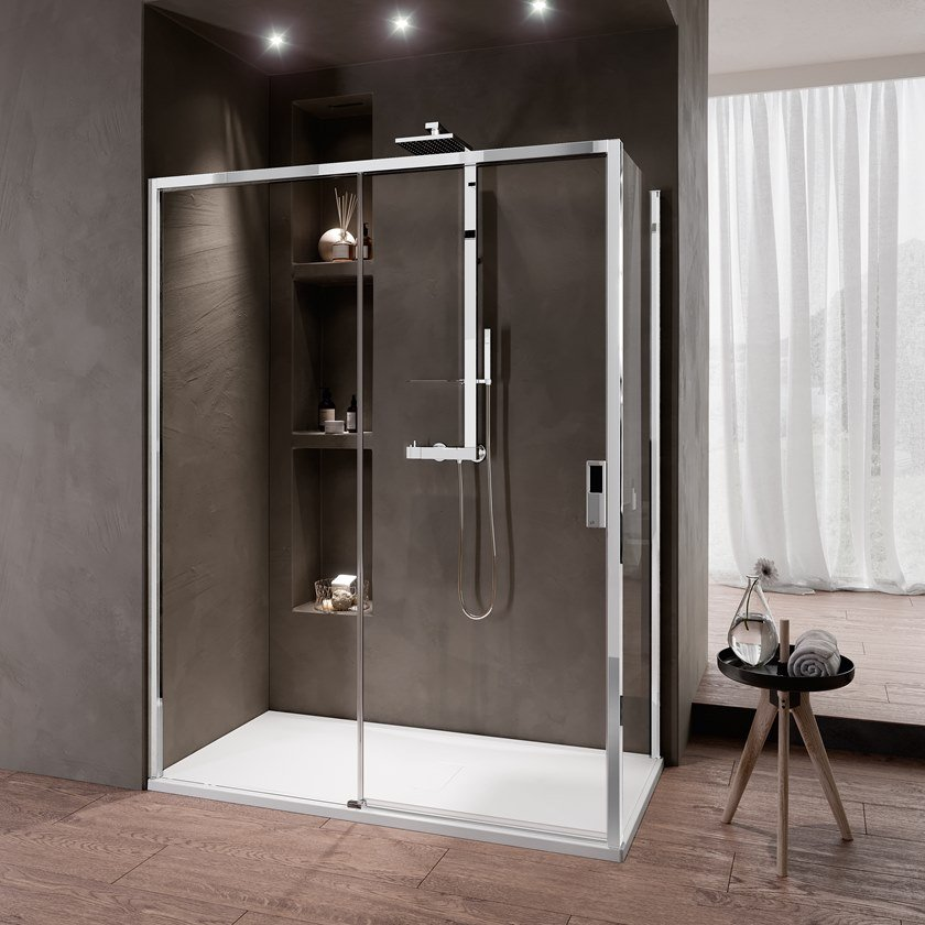 Corner shower cabin with sliding door OPERA 2P by NOVELLINI