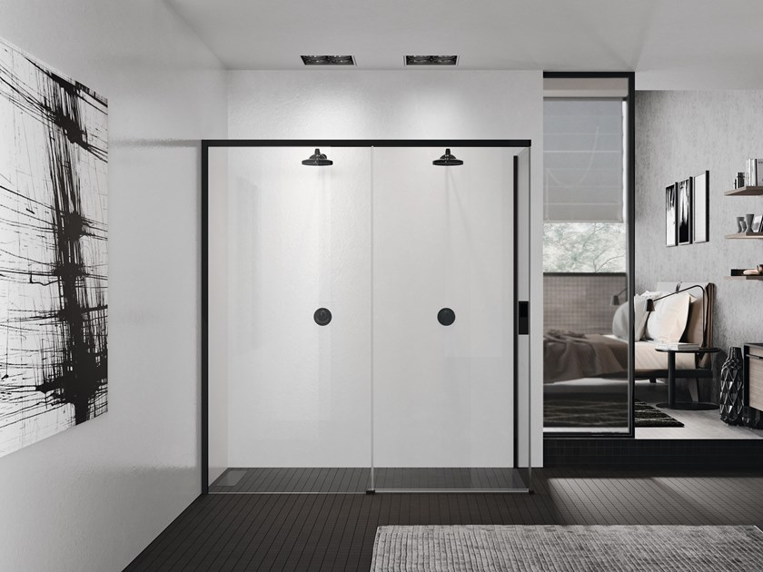 2 places corner shower cabin with sliding door OPERA 2PH+FH by NOVELLINI