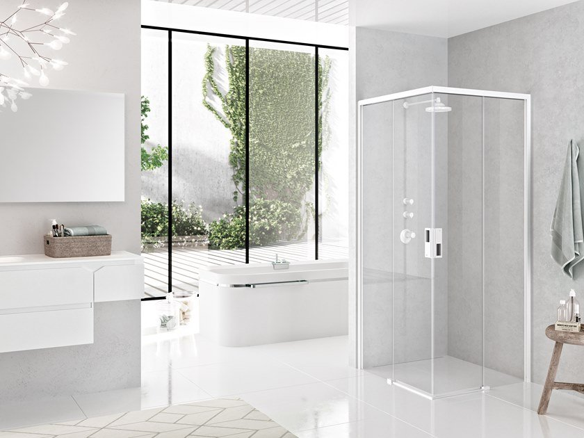 Corner shower cabin with sliding door OPERA A by NOVELLINI