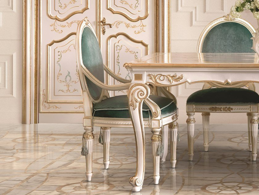 Medallion upholstered chair with armrests OPERA   Chair with armrests by Andrea Fanfani
