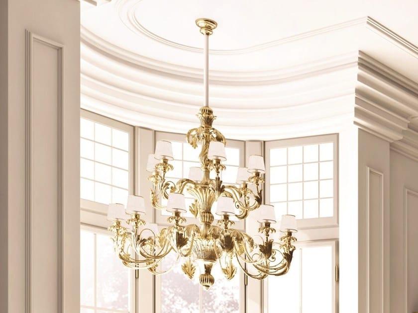 Gold leaf chandelier OPERA | Chandelier by Andrea Fanfani