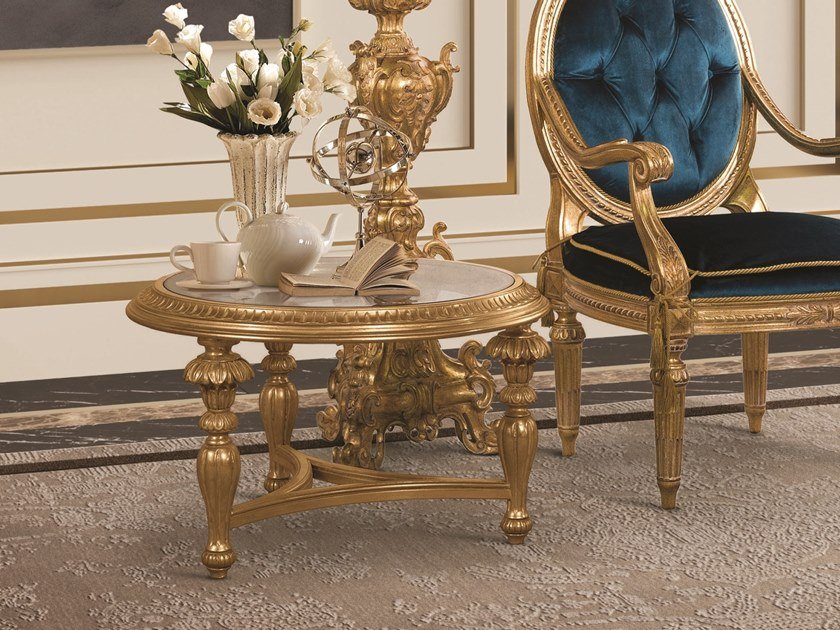 Low round gold leaf coffee table OPERA | Low coffee table by Andrea Fanfani
