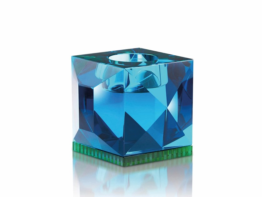 Crystal candle holder OPHELIA AZURE/GREEN by Reflections Copenhagen