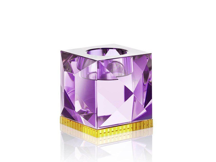 Crystal candle holder OPHELIA PURPLE/YELLOW by Reflections Copenhagen