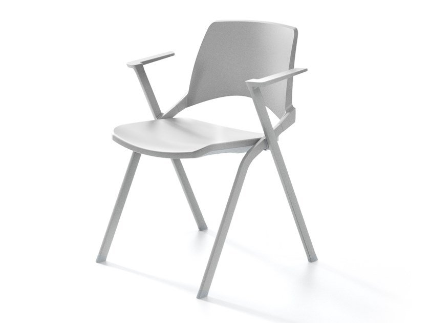 Stackable folding chair with armrests OPLÀ BR by IBEBI