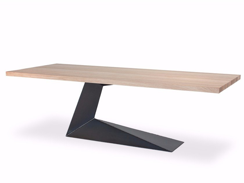 Rectangular wood and iron table OPLÀ by Riva 1920