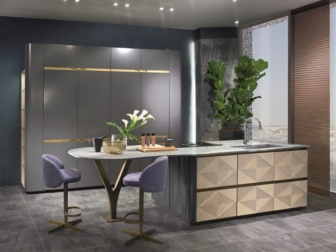 Kitchen with island OPTICAL SKIN | Kitchen with island by Carpanelli