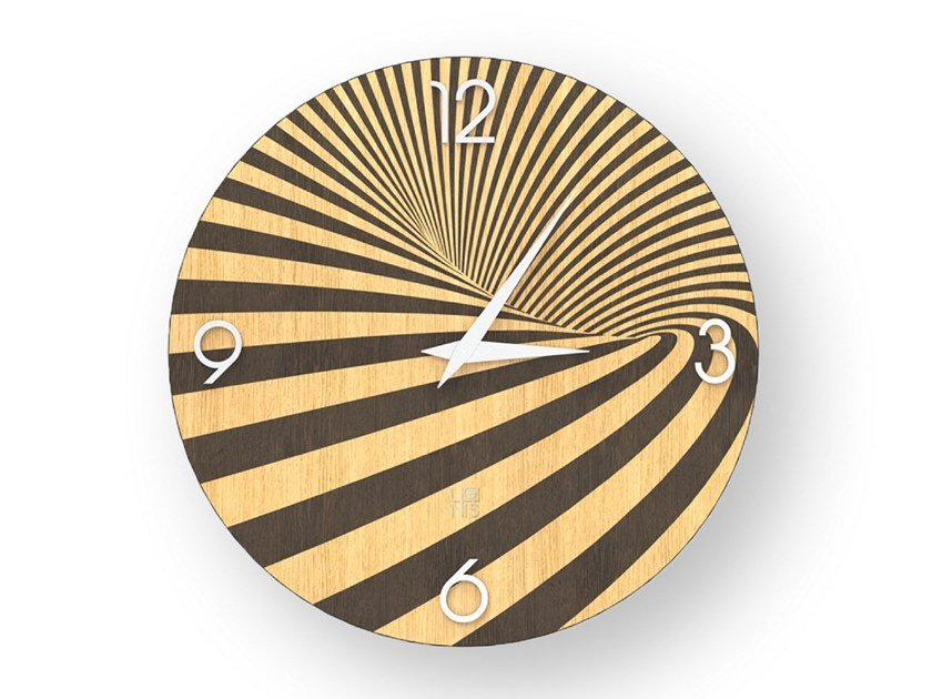 Wall clock made of inlayed wood OPTICAL WARM | Clock by LIGNIS®