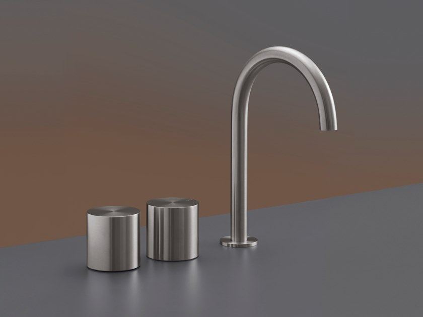 3 hole countertop stainless steel washbasin tap with adjustable spout OPUS 13 by Ceadesign