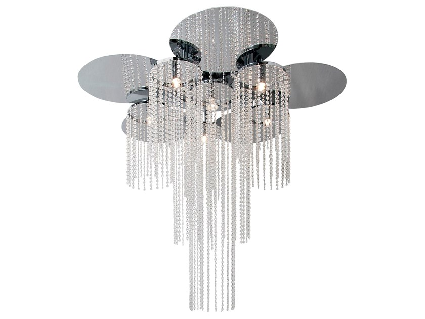 Metal ceiling lamp with crystals OPUS C5+1 by ILFARI