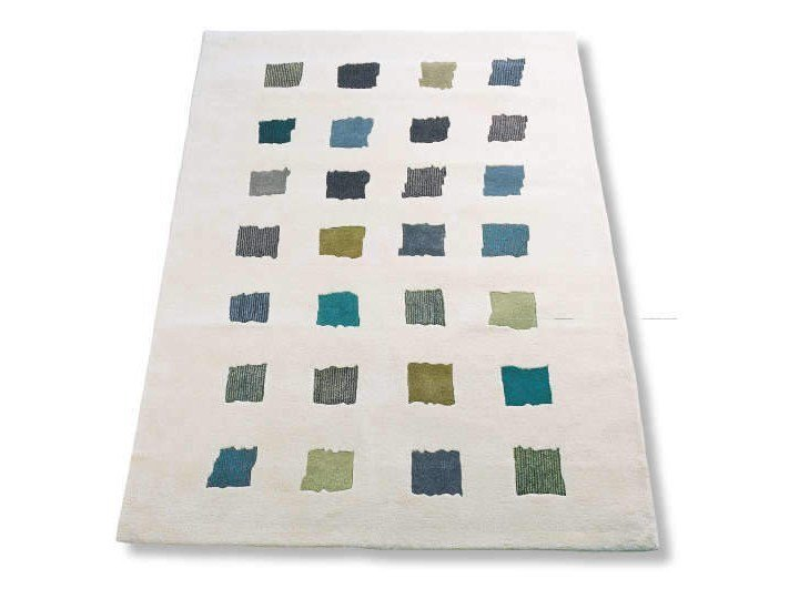 Handmade rectangular rug with geometric shapes OPUS by Garbarino