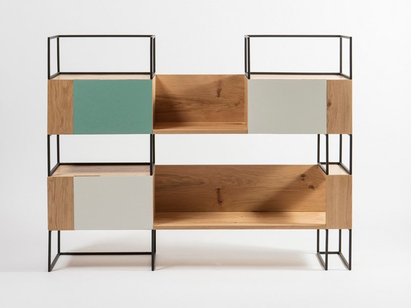 Freestanding modular oak bookcase with drawers OPUS by Medulum