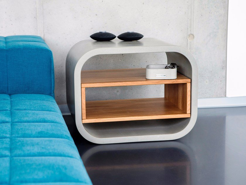 Concrete and oak bedside table OPUS PATEO by CO33